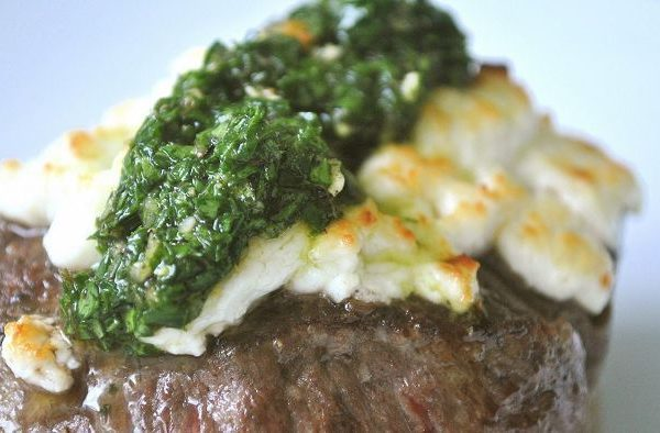 Rump Steak stuffed with Blue Cheese, Rocket, and Pear.