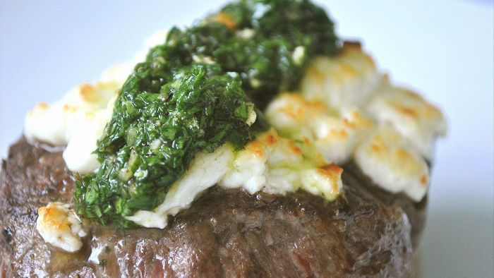 Rump Steak filled with Blue Cheese, Pear & Rocket